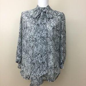 New York & Company bow tie blouse